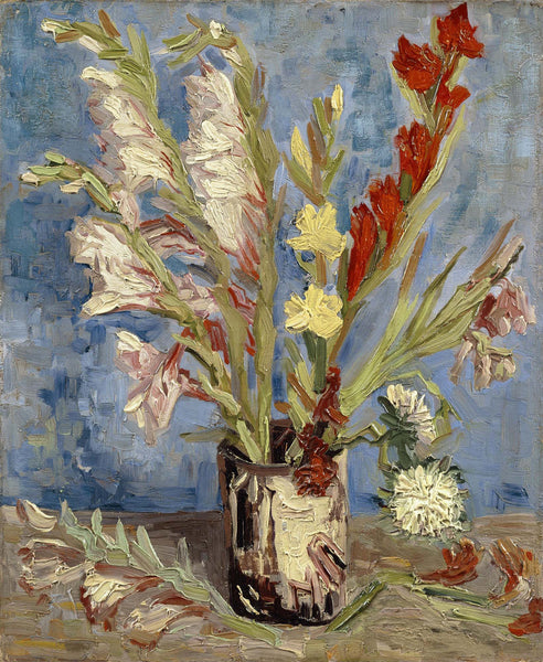 Vase with Gladioli and China Asters - Canvas Prints