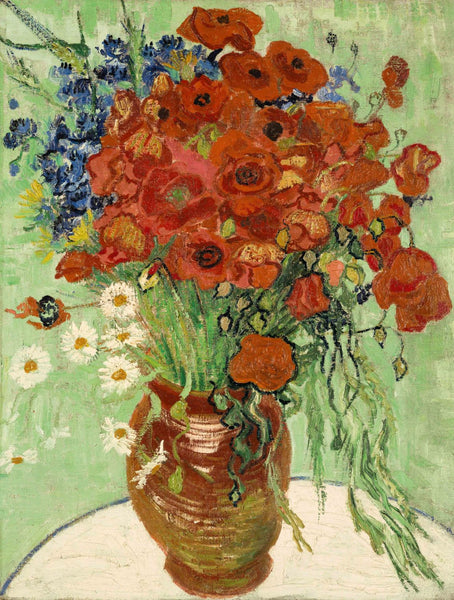 Vase with Daisies and Poppies - Canvas Prints