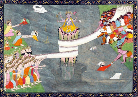 Vasuki ,Kshir Sagar (Ocean Of Milk) - C 1870 - Indian Miniature Painting by Tallenge Store