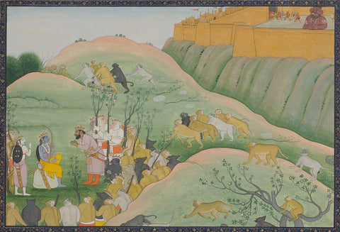 Indian Miniature Paintings - Ramayana Paintings - Vibhishana bows before Rama