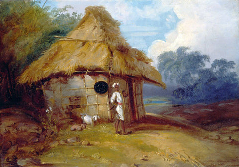 View in Southern India, with a Warrior Outside his Hut - George Chinnery - c 1815 - Vintage Orientalist Painting of India by George Chinnery