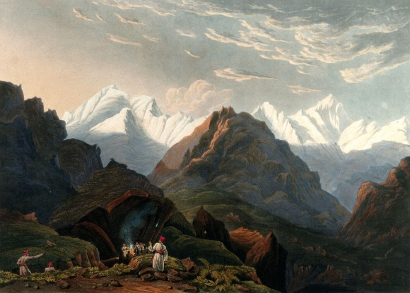 View of the mountains - James Baillie Fraser c 1826 Vintage Orientalist Aquatint Painting of India