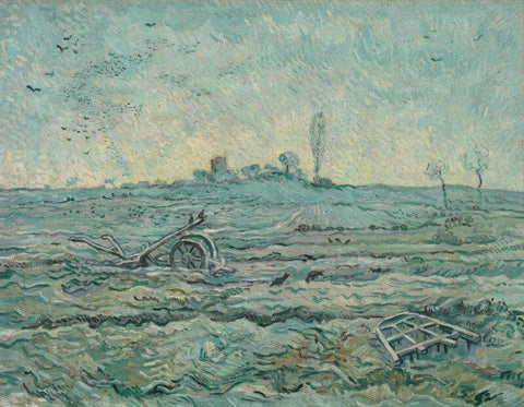 Snow Covered Field With A Harrow