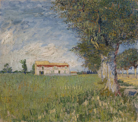 Farmhouse In A Wheat Field (Boerderij In Een Korenveld) - Vincent Van Gogh