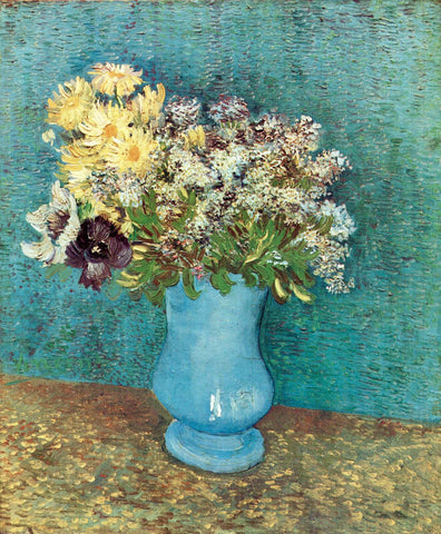 Vase With Lilacs, Daisies And Anemones by Vincent van Gogh