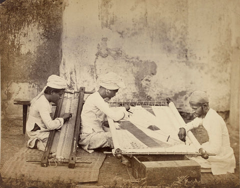 Vintage India - Photograph - Gold-Embroiderers