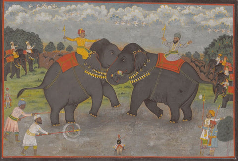 Indian Miniature Art - Elephant Fight
