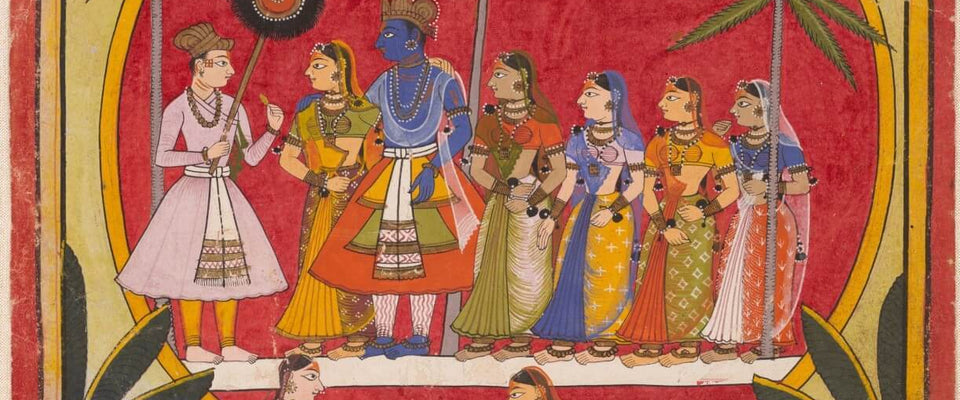 Krishna With Radha And Gopis by Tallenge Store | Buy Posters, Frames, Canvas  & Digital Art Prints