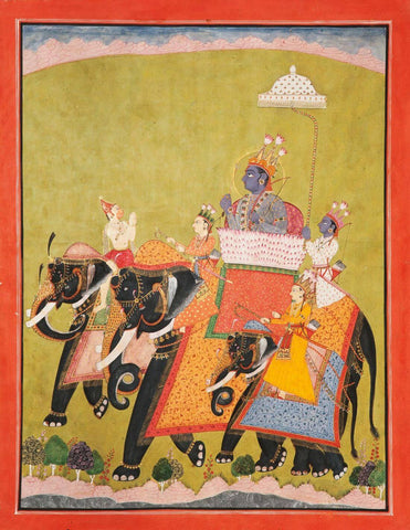 Vintage Indian Art - Lord Rama And Lakshmana Riding An Elephant