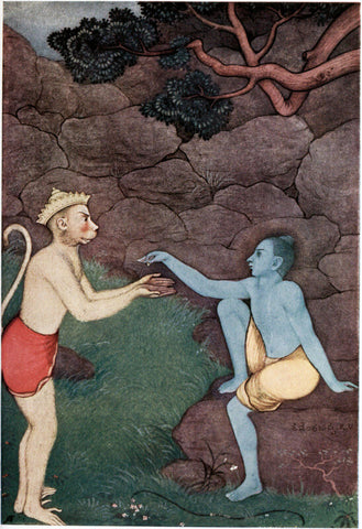 Vintage Indian Art - Rama Sending His Signet Ring To Sita - Vintage Indian Miniature Ramayan Painting