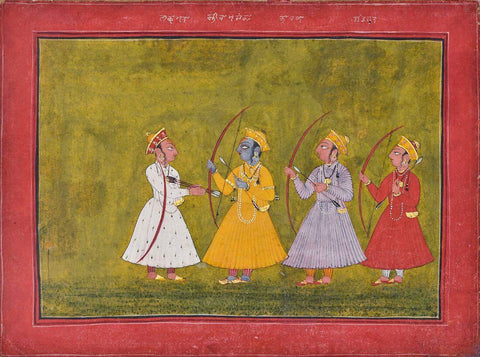 Vintage Indian Art - Ramayana - Five Folios From A Ramayana Series - Rajput Painting - Mewar - 18 Century