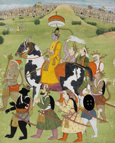 Artwork of Vintage Indian Art - Ramayana - Rama Returns in Victory to Ayodhya - Pahari Kangra Painting - 18 Century by Kritanta Vala