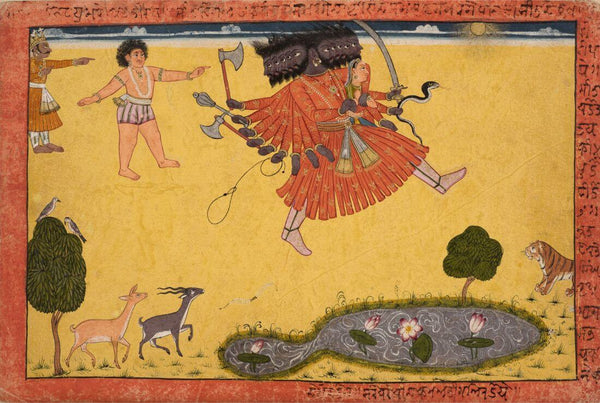 Artwork of Vintage Indian Art - Ravan Abducting Sita - Shangri Ramayana - Indian Miniature Painting by Kritanta Vala
