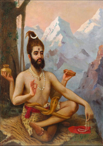 Vintage Indian Art - Raja Ravi Varma - Shiva as Dakshinamurthy - 1903 by Raja Ravi Varma