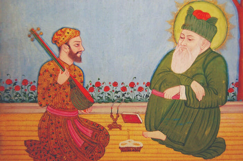 Vintage Indian Painting - Hazrat Nizamuddin Auliya With His Student Amir Khusro - Deccan Art