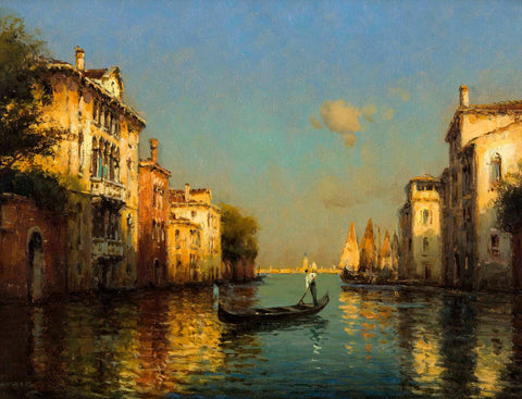 Vintage Oil Painting Of Gondolier In Venice
