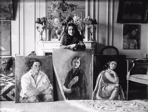 Vintage Photographs - Amrita Sher-Gil With Her Paintings