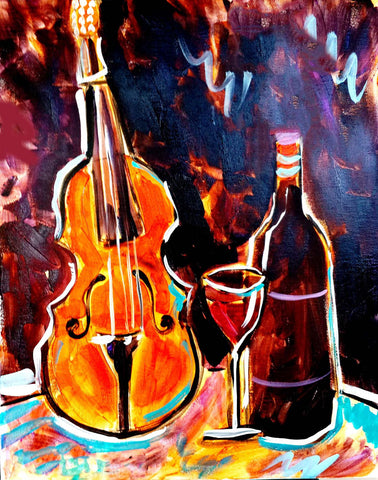 Violin And Wine by Deepak Tomar