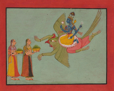 Indian Miniature Paintings - Ramayana Paintings - Vishnu on his Vehicle Garuda