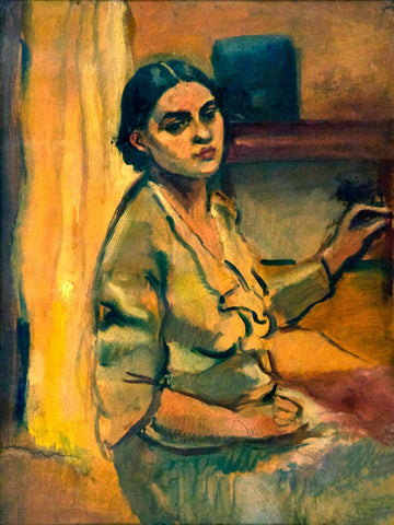 Waiting - Untitled Amrita Sher-Gil - Indian Masterpiece Painting by Amrita Sher-Gil