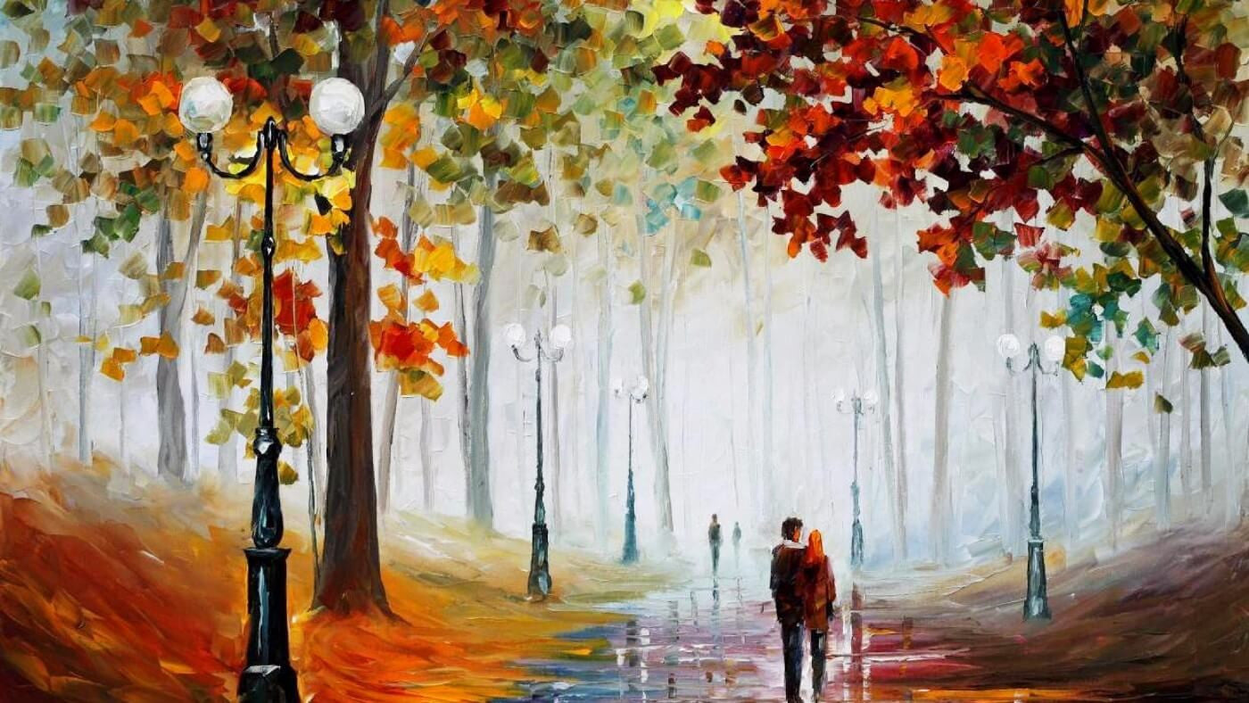 Palette Knife Acrylic Painting - Walk In The Park - Canvas Prints by ...