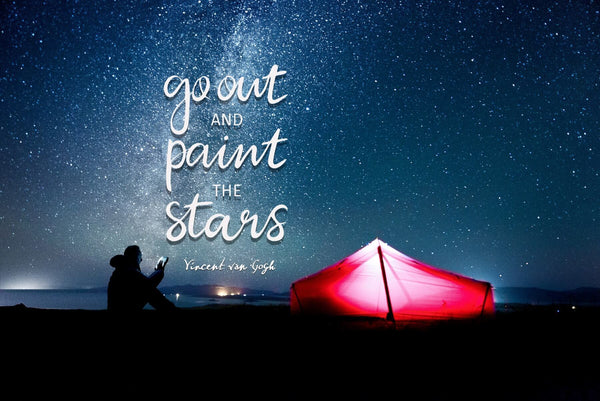 Wanderlust - Inspirational Quote - Go Out And Paint The Stars - Vincent Van Gogh - Large Art Prints