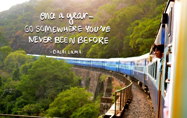 Wanderlust - Inspirational Quote - Once A Year Go Somewhere You Have Never Been Before - Dalai Lama - Framed Prints
