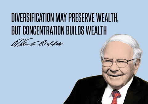 Warren Buffet - Inspirational Quote - VALUE INVESTING - Diversification May Preserve Wealth, But Concentration Builds Wealth by Sherly David