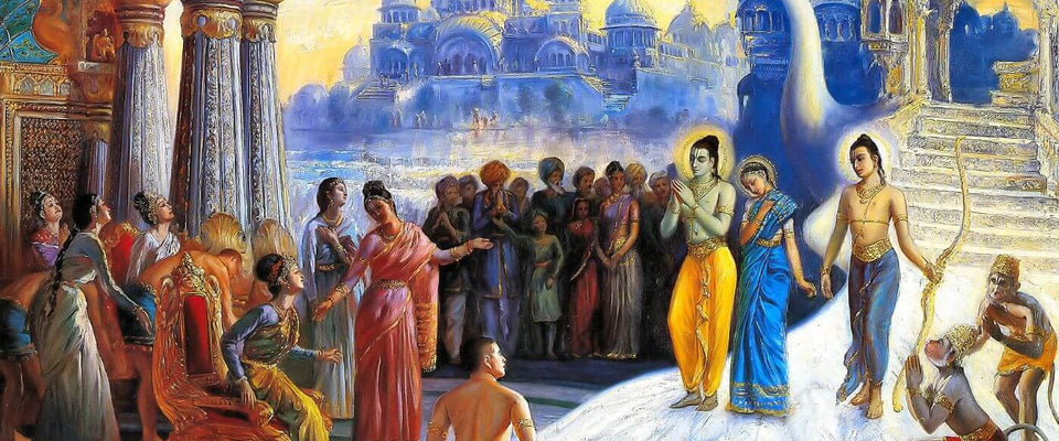 When Lord Ram Came To Ayodhya, Lighted With Ghee Lamp - Indian Miniature Painting From Ramayan - Vintage Indian Art by Kritanta Vala | Buy Posters, Frames, Canvas  & Digital Art Prints