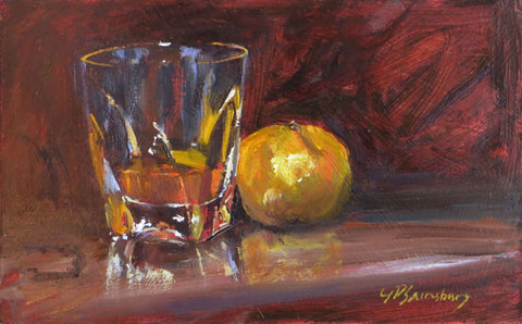 Whiskey And Orange Still Life Artwork by Deepak Tomar