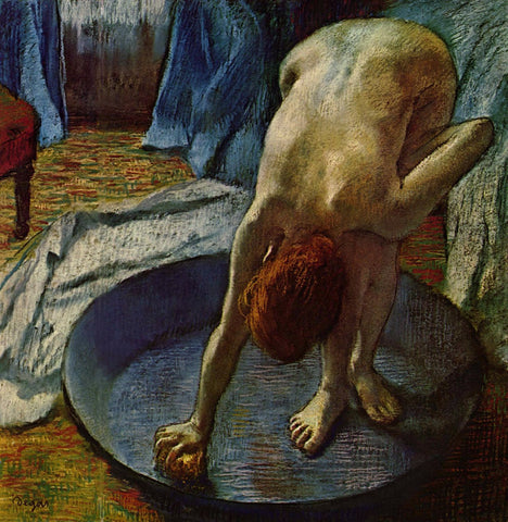 Woman Bathing In A Shallow Tub - Canvas Prints