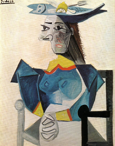 Pablo Picasso - Femme Assise Au Chapeau-Poisson -Woman in a Fish Hat - Life Size Posters