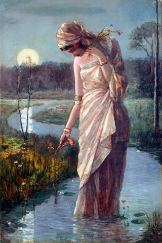 Woman Wading In The River - Hemendranath Mazumdar - Indian Masters Painting