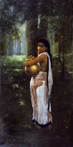 Woman With Pitcher  - Hemendranath Mazumdar - Indian Masters Painting
