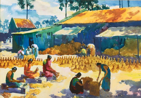 Workers Gathering Hay - Water Colour