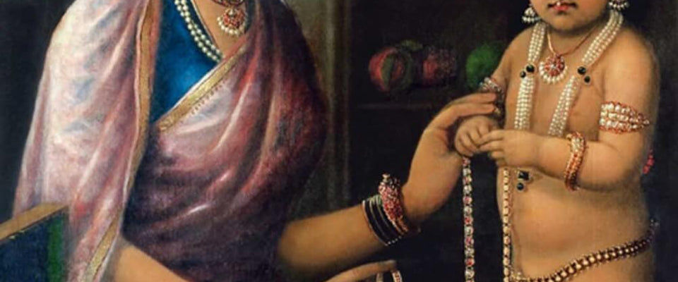 Yashodha Adorning Krishna - Raja Ravi Varma by Raja Ravi Varma | Buy Posters, Frames, Canvas  & Digital Art Prints