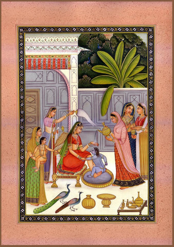 Yashodha Gives Young Krishna a Bath - Indian Vintage Miniature Painting