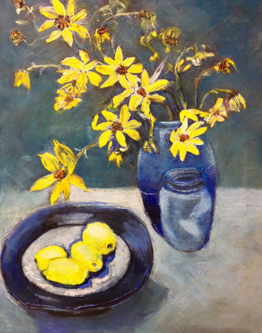 Still Life Yellow Flowers And Lemons
