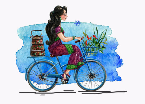 Young Indian Girl With Tiffin On Her Cycle