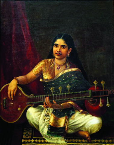 Young Woman With Veena - Raja Ravi Varma - Indian Painting