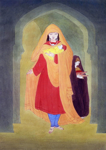 Young Woman With Child And Servant by Abdur Rahman Chughtai