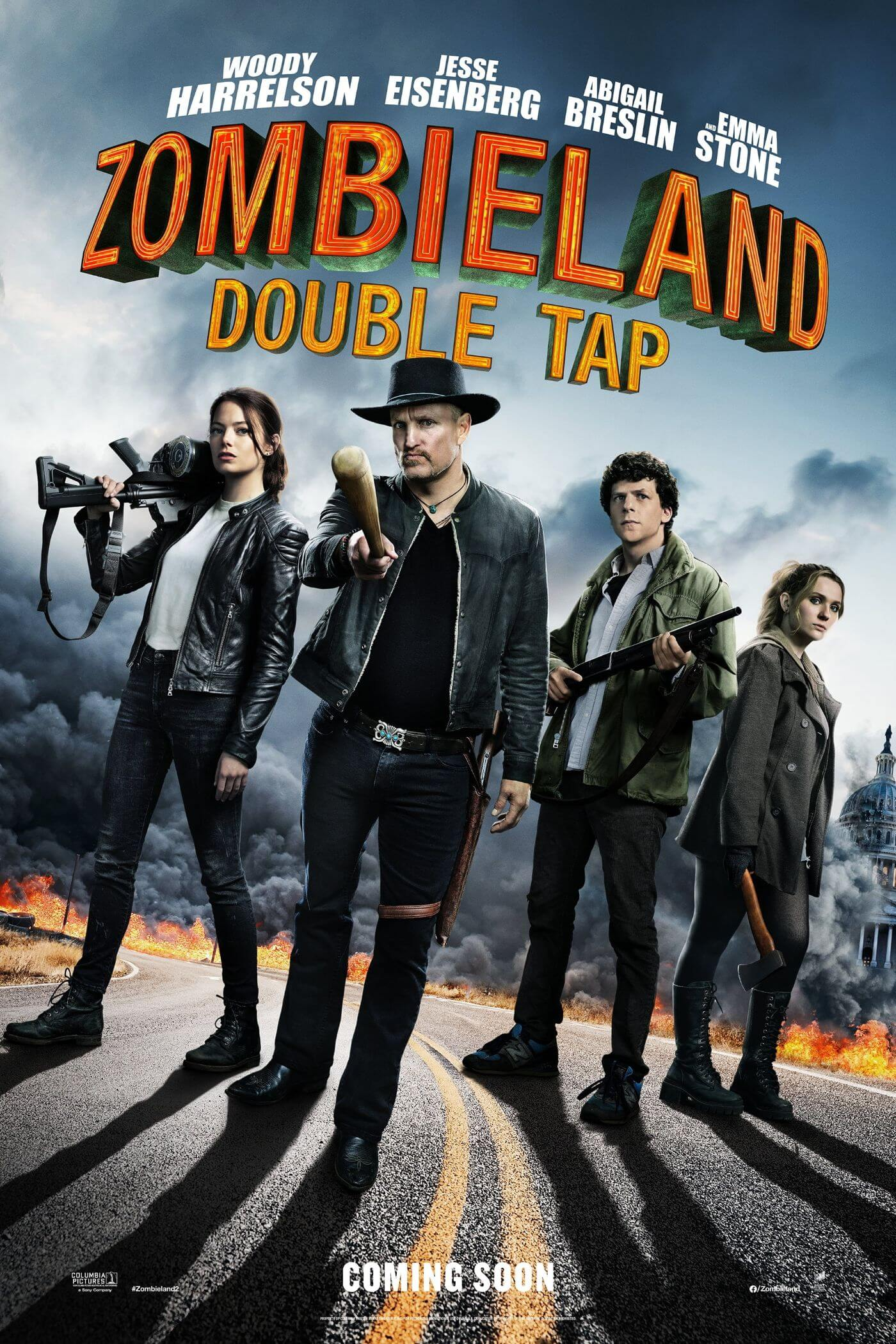 Zombieland Double Tap - Woody Harrelson Emma Stone - Hollywood Action Movie Poster