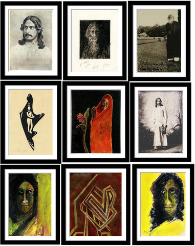 Set of 10 Best of Rabindranath Tagore Paintings - Framed Poster Paper (12 x 17 inches) each
