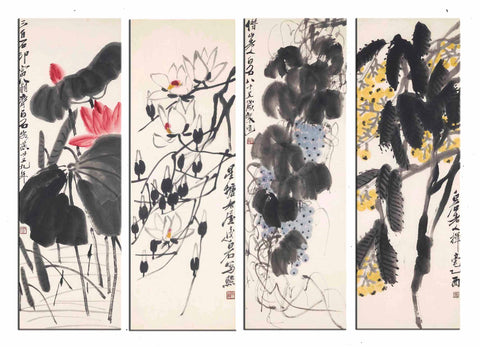 Qi Baishi - Flowers And Fruit - Set Of 4 - Art Panels