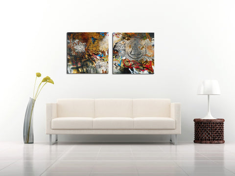 Illuminati - Abstract Expressionism Painting - Set Of 2 Panels - (24 x 24 inches) each