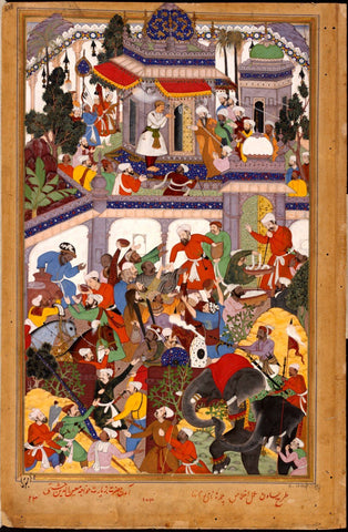Indian Miniature Paintings - Rajput painting - Akbar visits the tomb of khwajah muin ad-din chishti at ajmer
