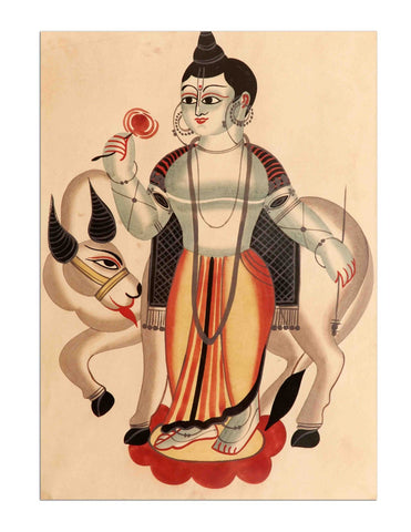 Indian Art - Kalighat Style - Lord Krishna by Kritanta Vala