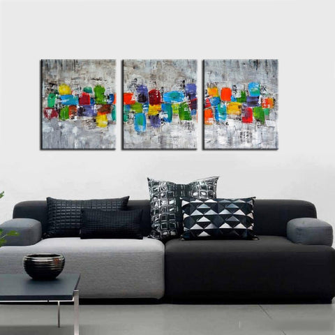 Candy Shop - Modern Abstract Painting - Set Of 3 Gallery Wrap (48 x 72 inches) Final Size