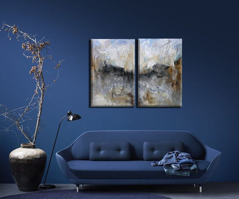 Earthy Majesty - Contemporary Abstract Painting Diptych - 2 Gallery Wrap (10 x 12 inches) each