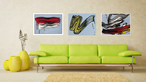 Set Of 3 Roy Lichtenstein Paintings- Red and White Brushstrokes, Pop Art - Brushstroke, Reflections On Brushstroke C. 45 - Gallery Wrapped Art Print